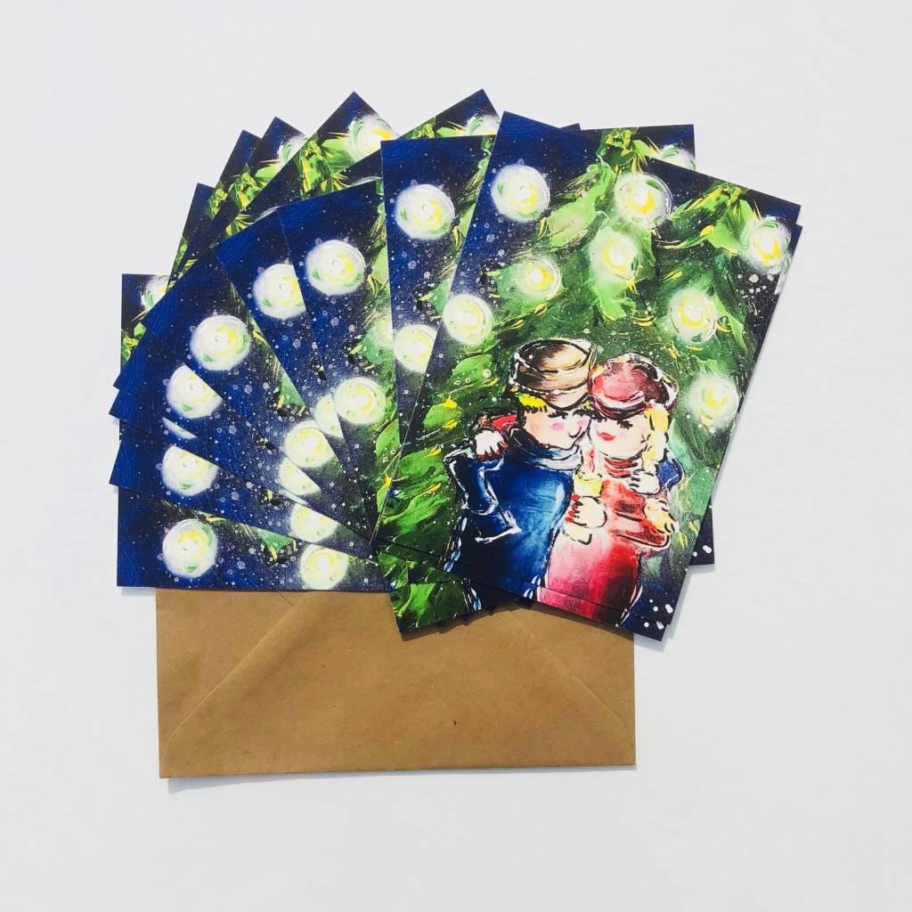 FEELGOOD schilderijen & producten Set van 10 kerstkaarten 'Cosey winter'