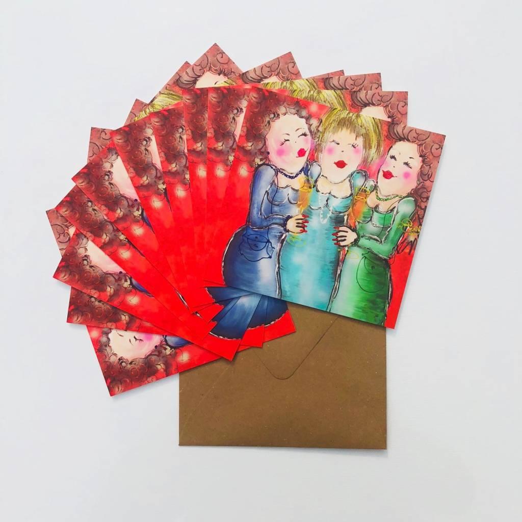 FEELGOOD schilderijen & producten Set van 10 feestkaarten 'Annie'