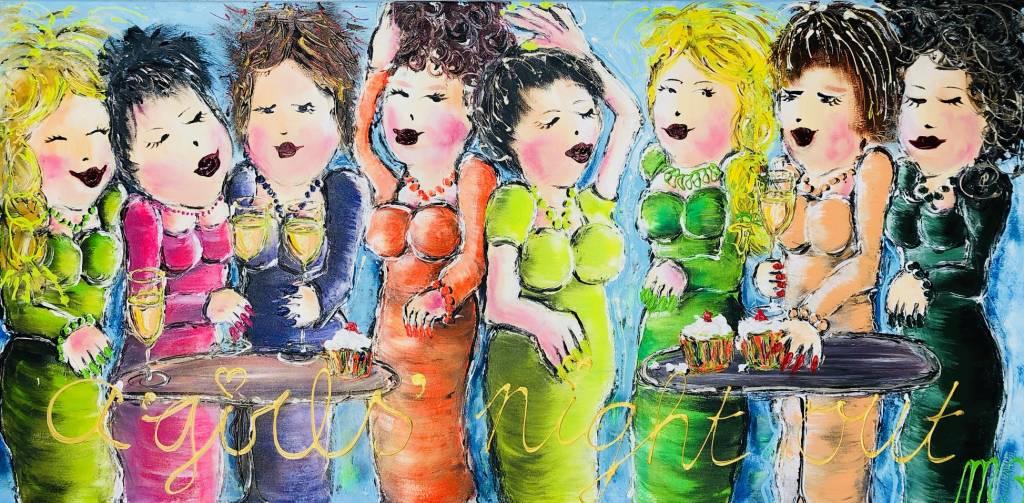 FEELGOOD schilderijen & producten Schilderij op voorraad 'A girls night out' 70 x 140 x 2 cm