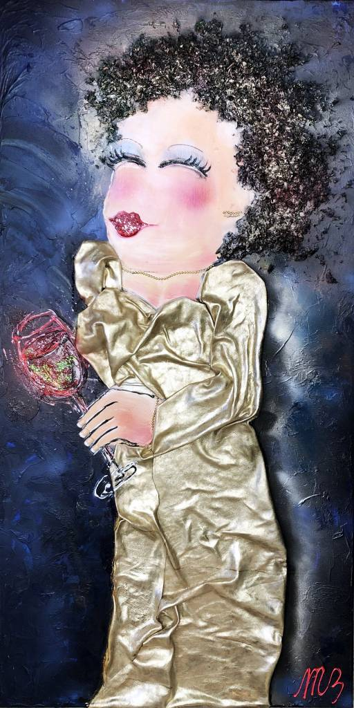 FEELGOOD schilderijen & producten Mixed media LADY IN GOLDEN DRESS