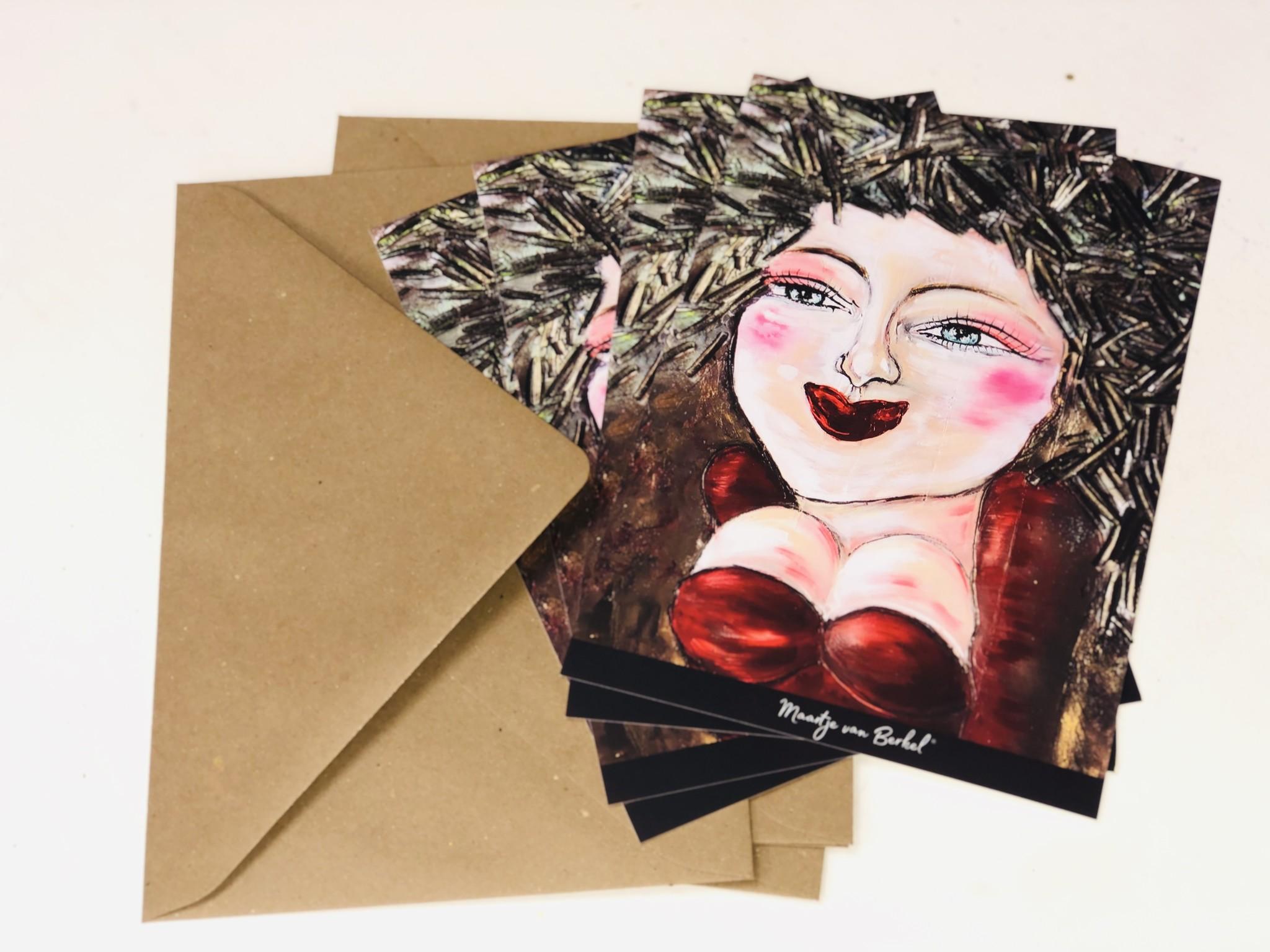 FEELGOOD schilderijen & producten Set van 10 kaarten 'New face' A5