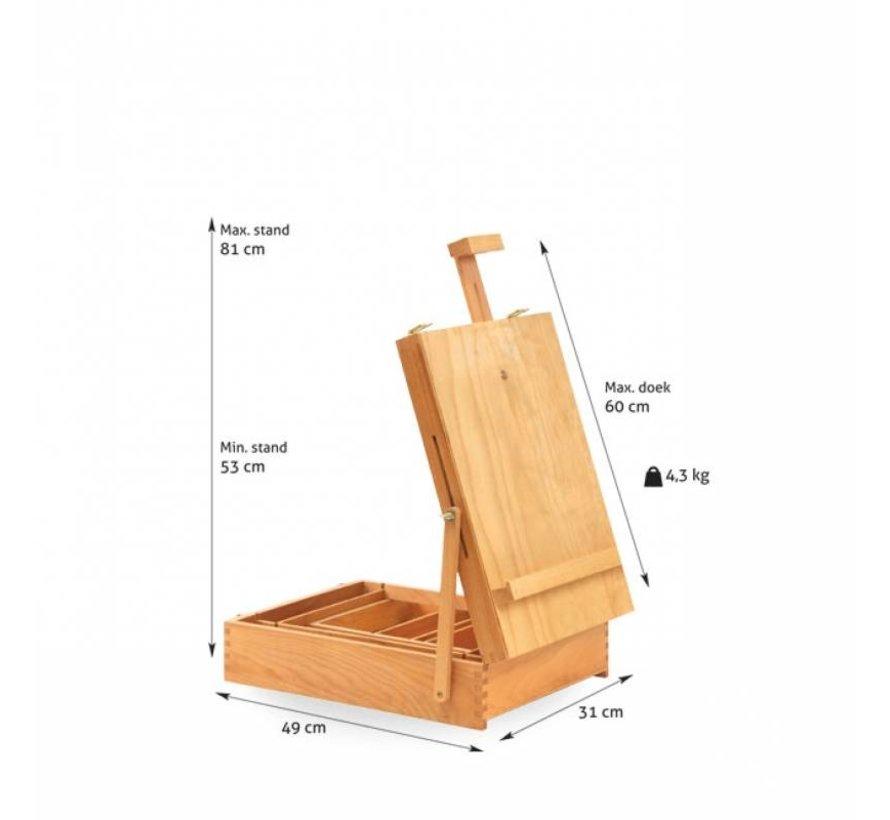 Beukenhout tafelezel met kist NR18