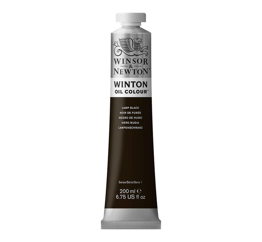 W&N Winton olieverf 200ml Lamp Black 337