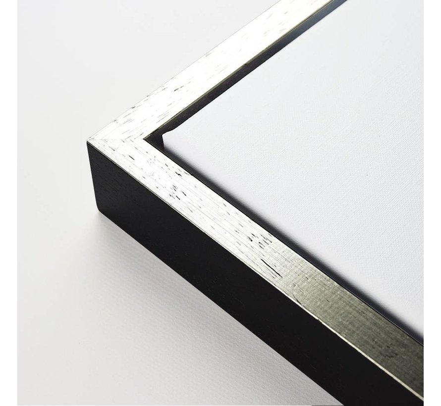 Baklijst 3D zwart top zilver