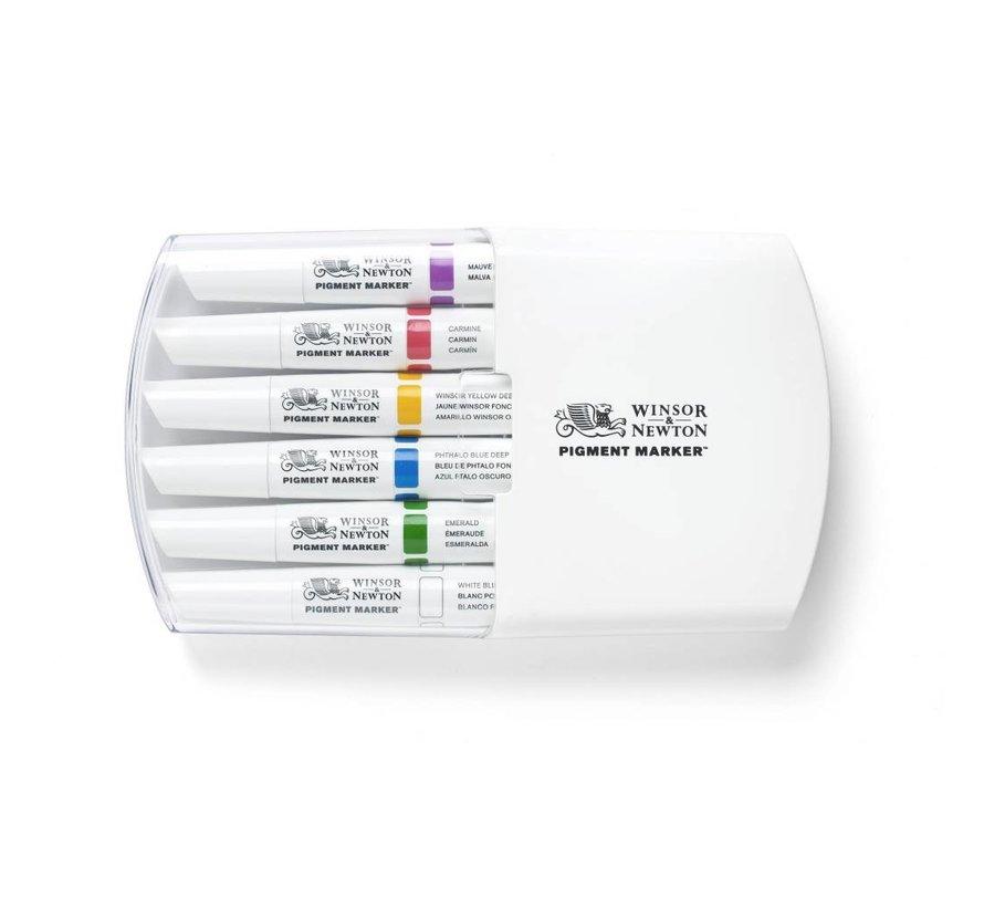 Pigment Marker Set 6 Stuks Rich Tones