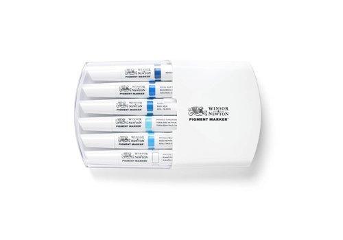 Winsor & Newton Pigment Marker Set 6 Stuks Blue Tones
