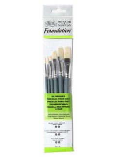 Winsor & Newton Foundation varkenshaar penselen set 6 stuks gemengd