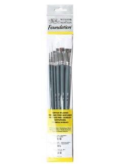 Winsor & Newton Foundation Acrylpenselenset 6 stuks korte steel No. Rond 3/6 Plat 10/14 Kattentong 3/6
