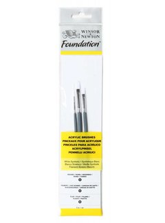 Winsor & Newton Foundation Acrylpenselenset 3 stuks korte steel No. 2/2/4