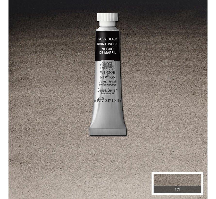 W&N pro. aquarelverf tube 5ml Ivory Black