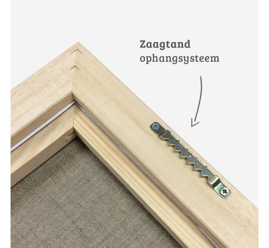 Blok baklijst satijn wit + linnen schildersdoek 21mm combideal