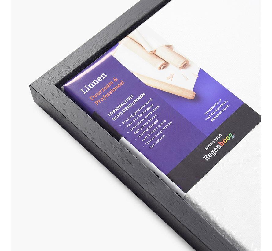 Blok baklijst satijn zwart + linnen schildersdoek 21mm combideal