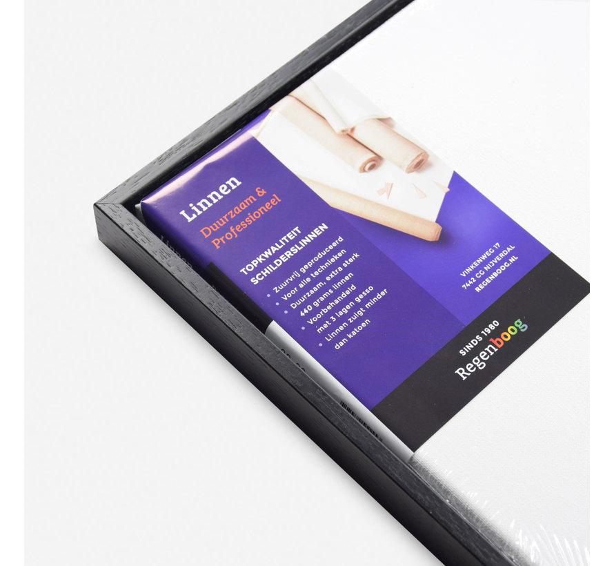 Baklijst satijn zwart + linnen schildersdoek 21mm combideal