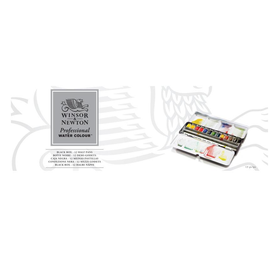 Professional aquarelverf Black box 12 halve napjes