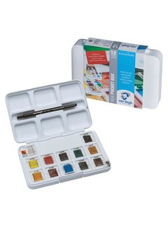 Van Gogh Aquarelverf pocket box Basic Colours met 12 kleuren in halve napjes
