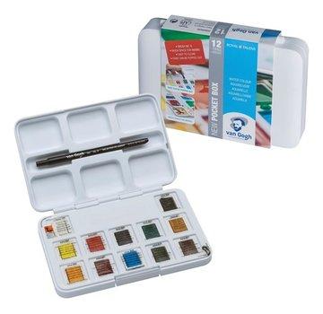 Van Gogh Aquarelverf pocket box Basic Colours met 12 kleuren in halve napjes