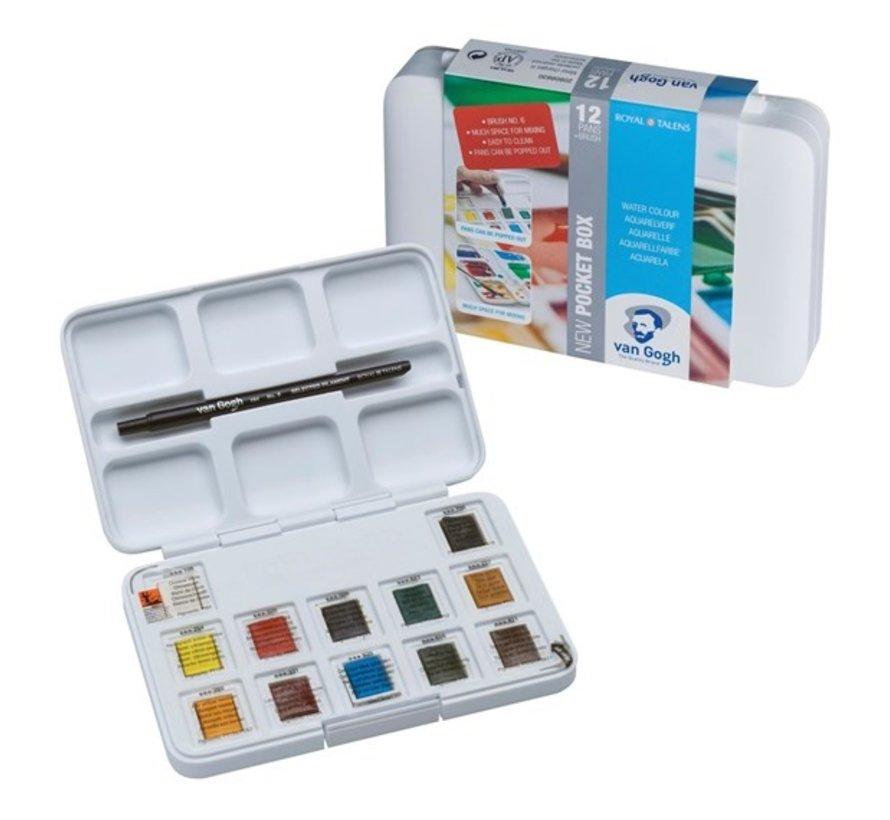 Aquarelverf pocket box Basic Colours met 12 kleuren in halve napjes