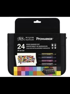 Winsor & Newton Set Mixed Markers 24 Stuks in etui