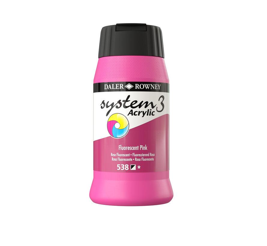 System 3 Acrylverf 500ml Fluorescent Pink 538