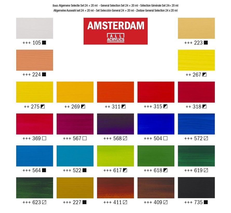 Amsterdam acrylverf general selection set 24 x 20ml