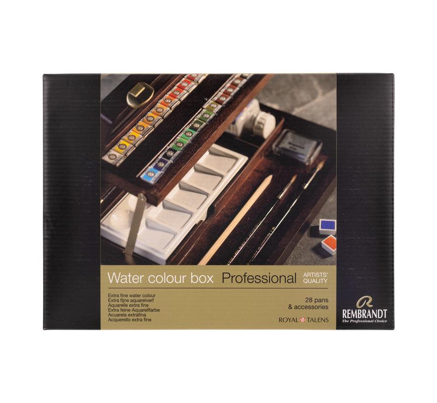 Professional aquarelverf kist Professional, 28 halve napjes + 7 accessoires