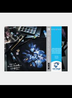 Royal Talens Aquarelblok postkaart 10.5x14.8 zwart papier 25 vel