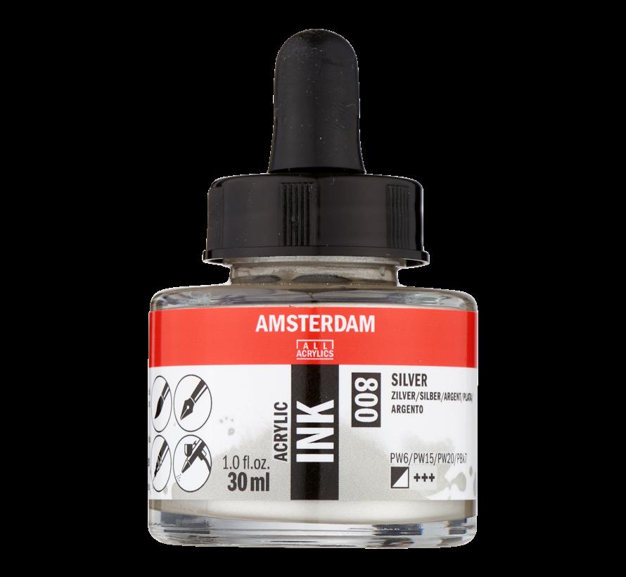 Acrylic Inkt Fles 30 ml Zilver 800