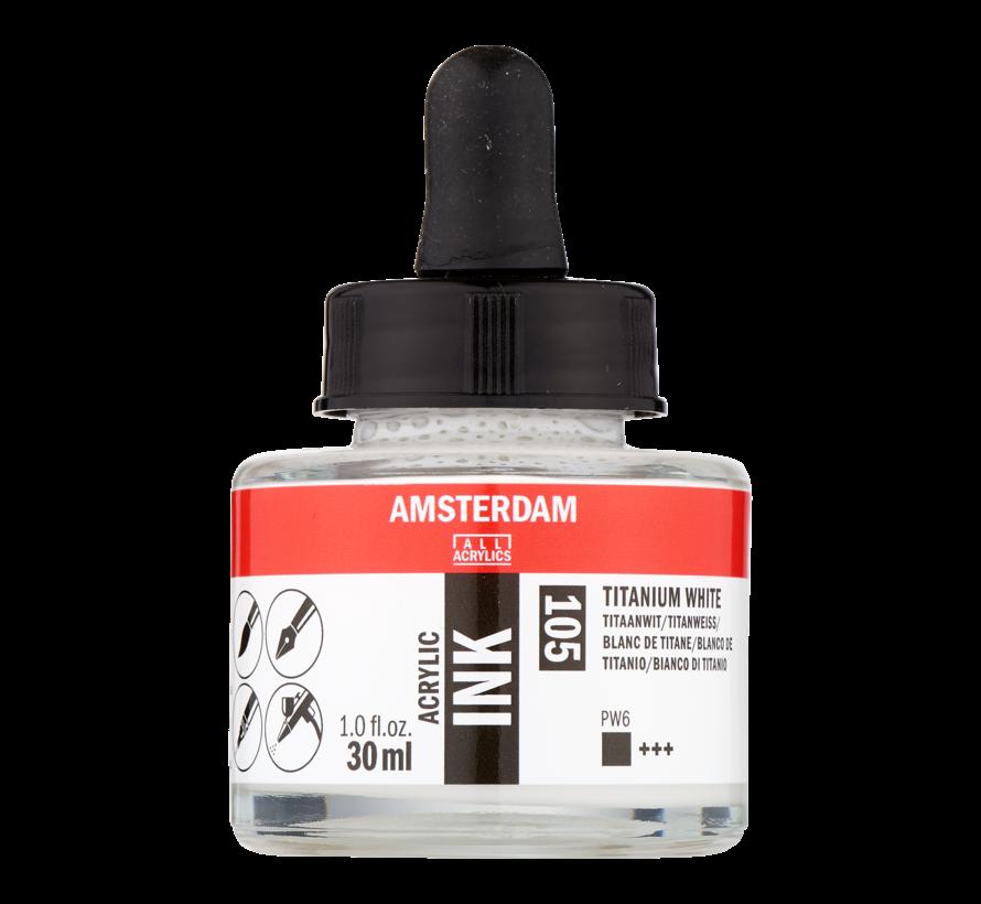 Acrylic Inkt Fles 30 ml Titaanwit 105