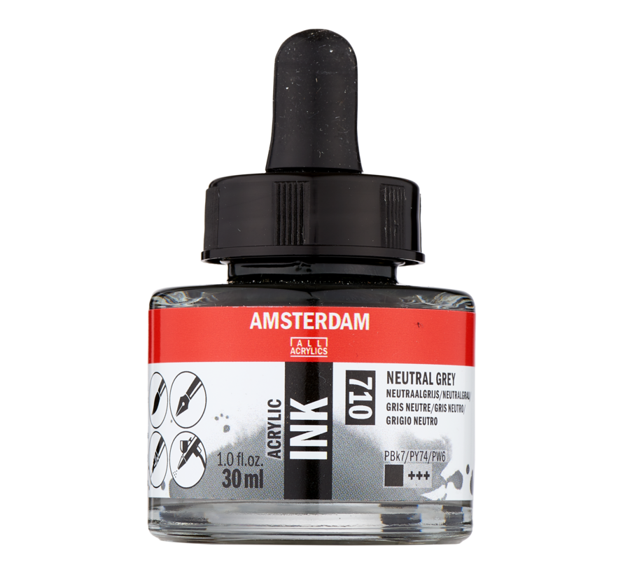 Acrylic Inkt Fles 30 ml Neutraalgrijs 710