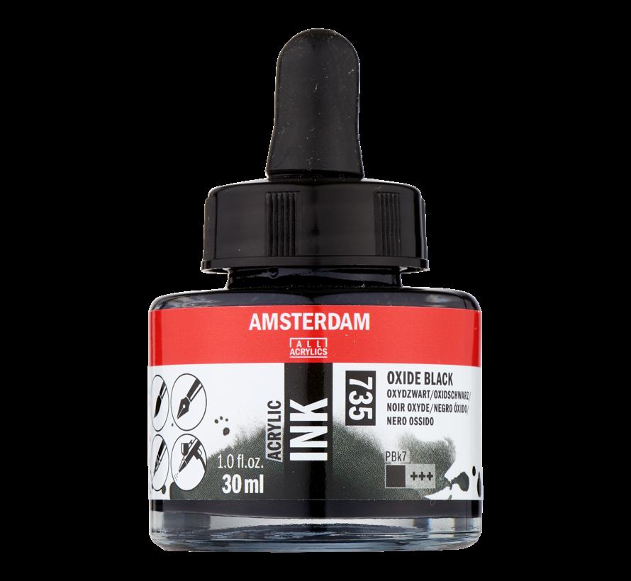 Acrylic Inkt Fles 30 ml Oxydzwart 735