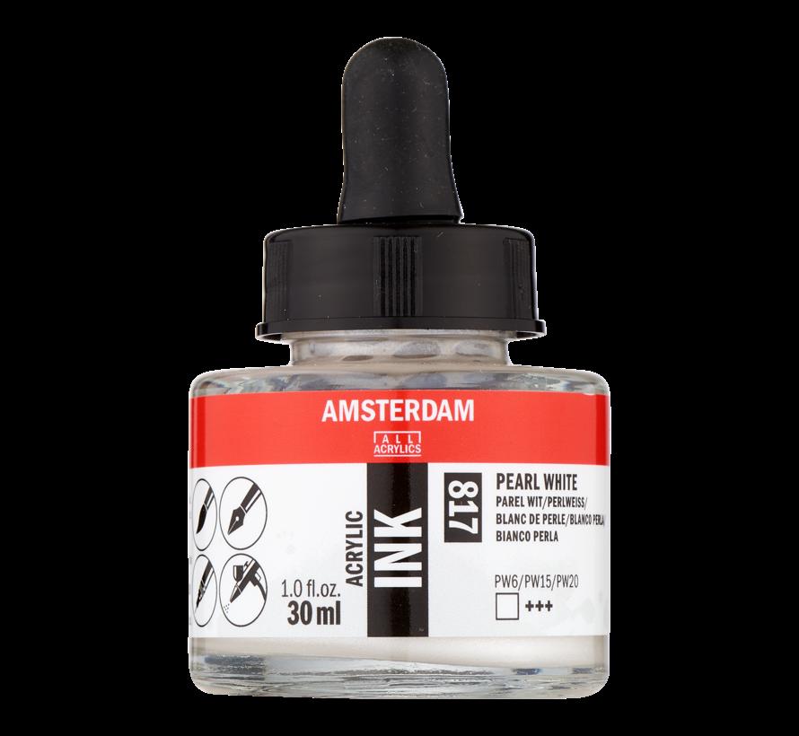 Acrylic Inkt Fles 30 ml Parelwit 817