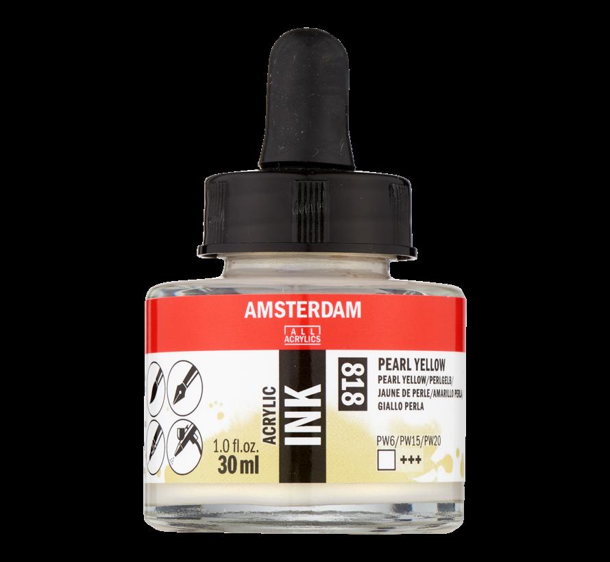Acrylic Inkt Fles 30 ml Parelgeel 818