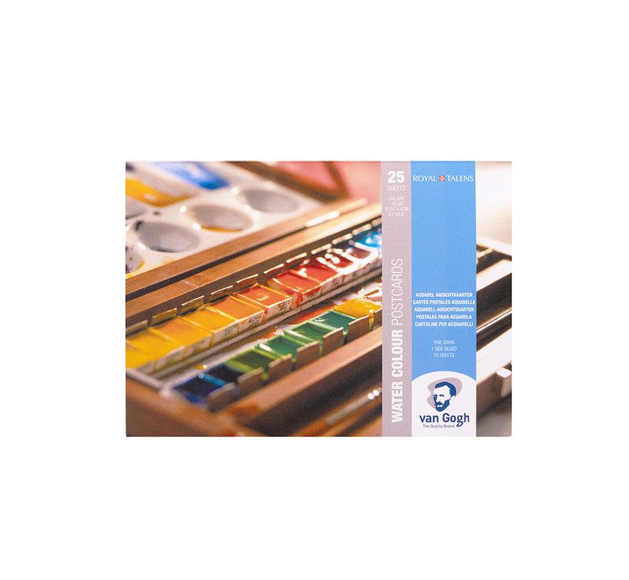 Aquarelverf postkaart blok wit 300gr 25 vellen