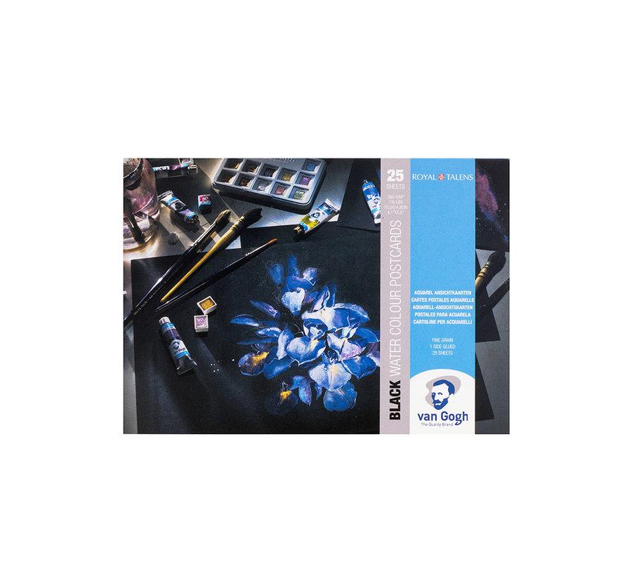 Aquarelverf postkaart blok zwart 360gr 25 vellen
