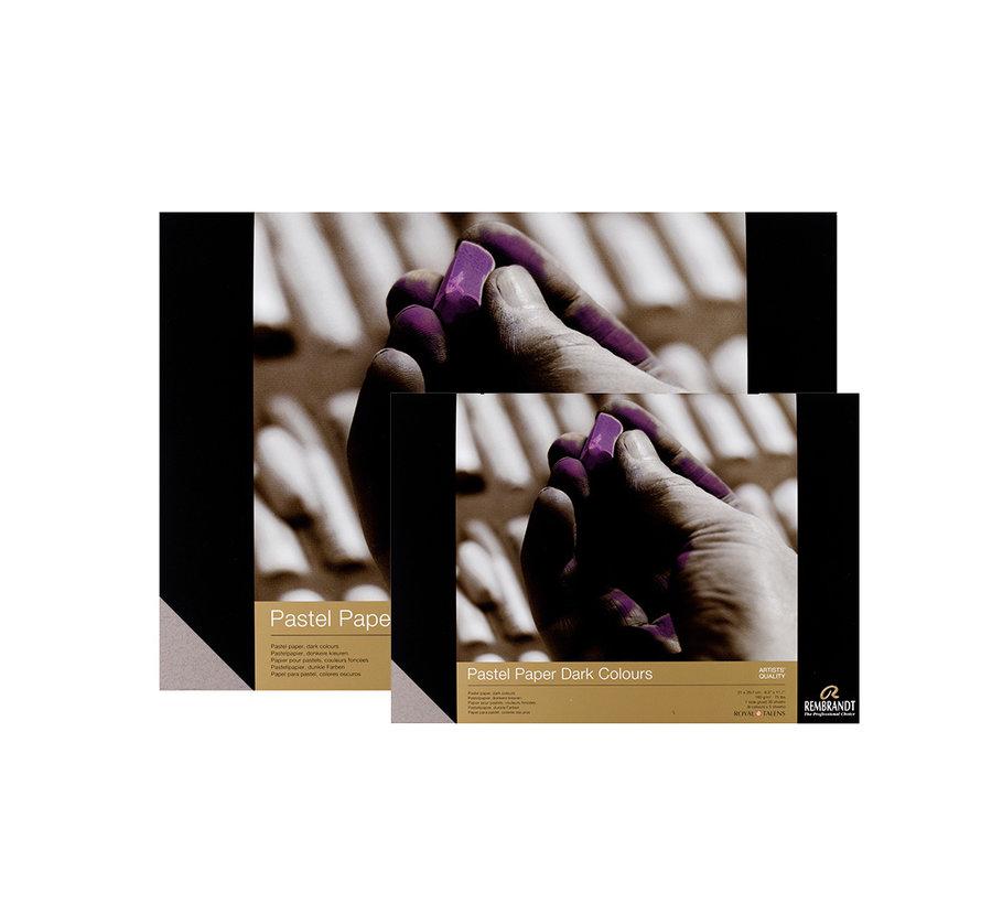 Pastelpapier donkere kleuren selectie 160gr 30 vellen