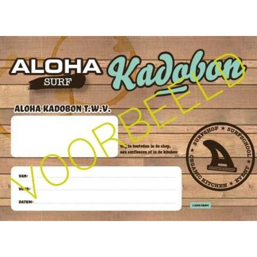 Aloha Surf Huismerk Kadobon Strippenkaart Junior Surfles 1 Persoon