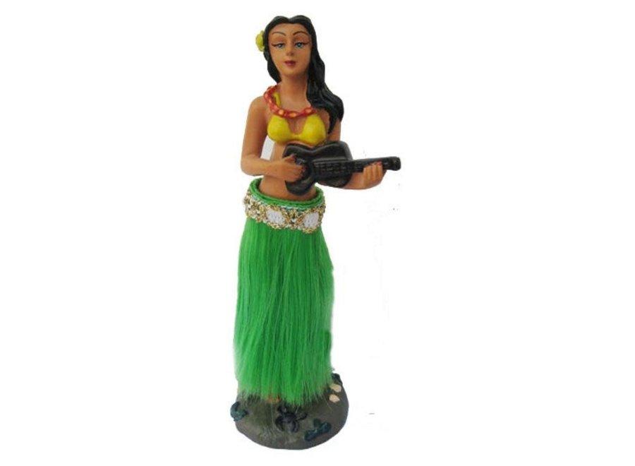 Dansend Hula  Dashboard Poppetje met  Groene Rok