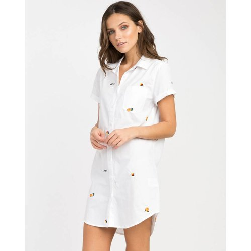RVCA RVCA Women Ditz White Shirt Dress