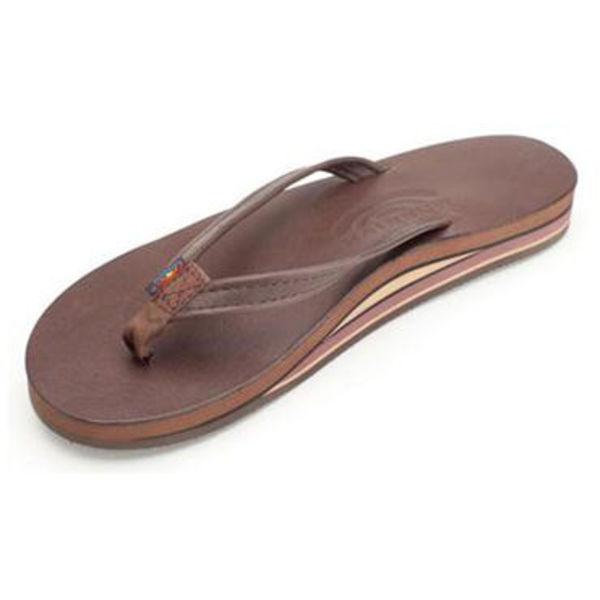 Rainbow Dames Classic Leather Double Layer Arch Mocha Sandals