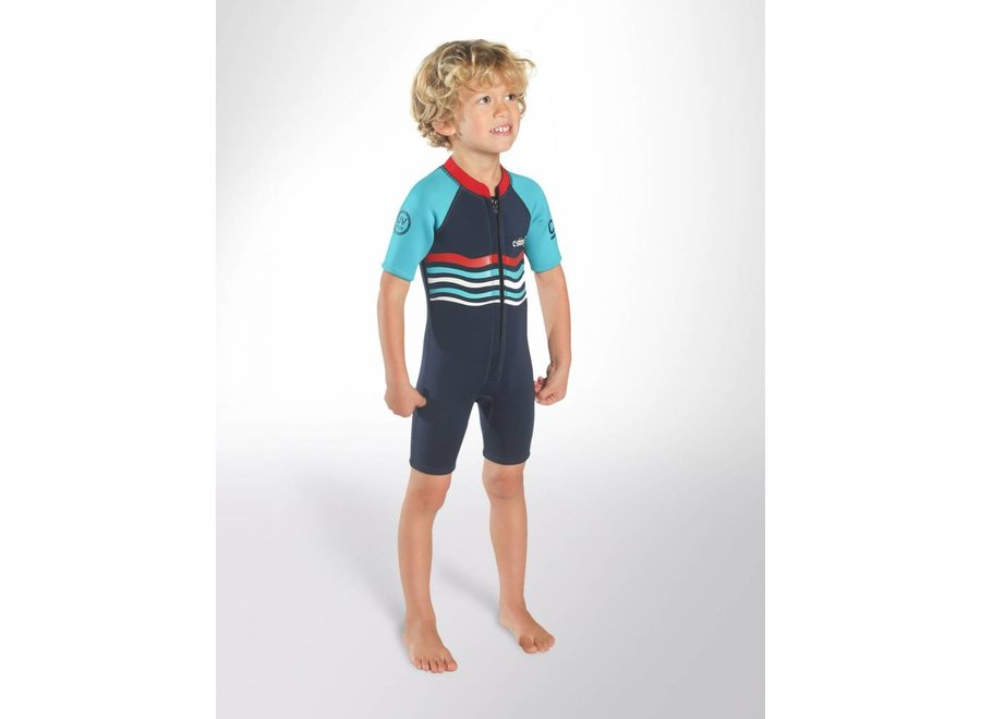C-Skins 3/2 Baby Waves Shorty Wetsuit InkBlue/Turquoise/Red
