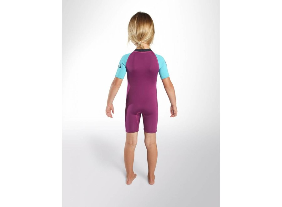 C-Skins 3/2 Baby Waves Shorty Wetsuit Violet/Cyan/Navy