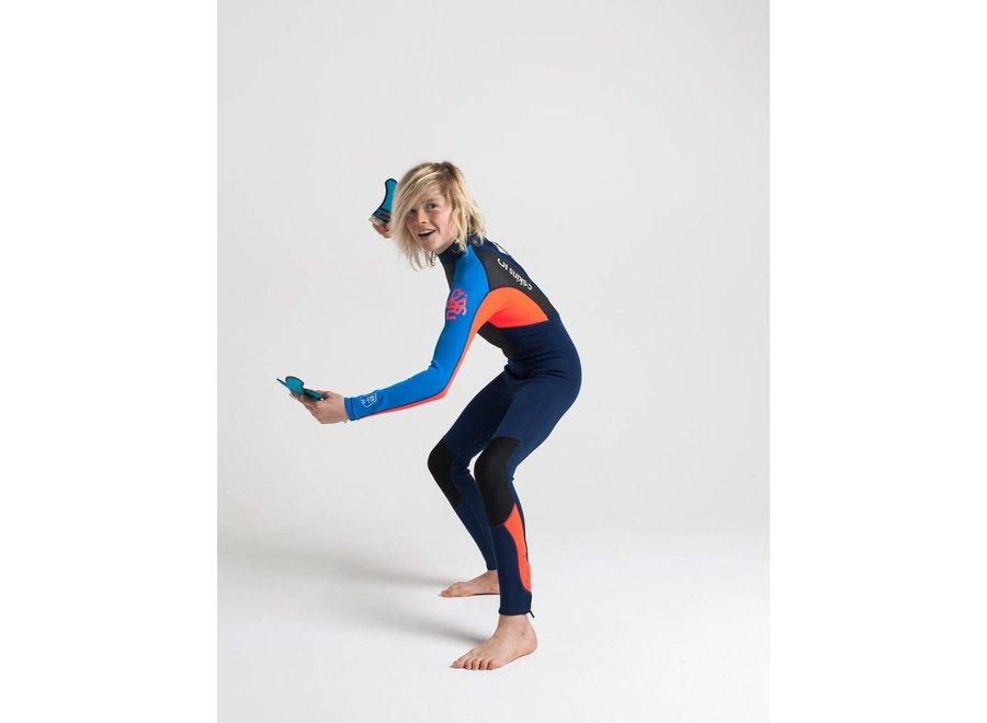 C-Skins Element 3/2 Kids Summer Wetsuit Navy / FloRed / Cyan
