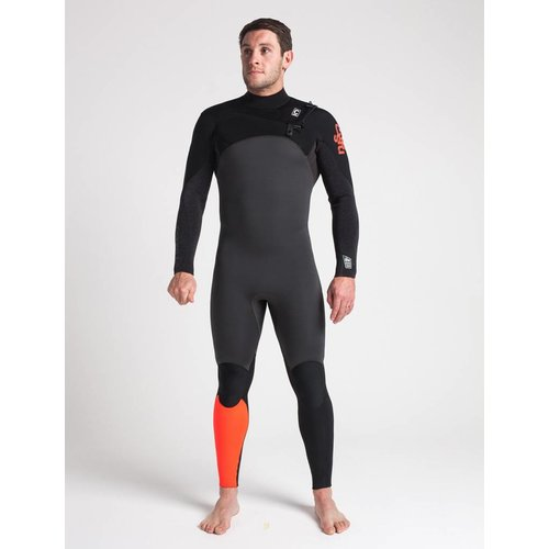 C-Skins C-Skins ReWired 4/3 Heren Zomer Wetsuit Gunmetal/Black/Red
