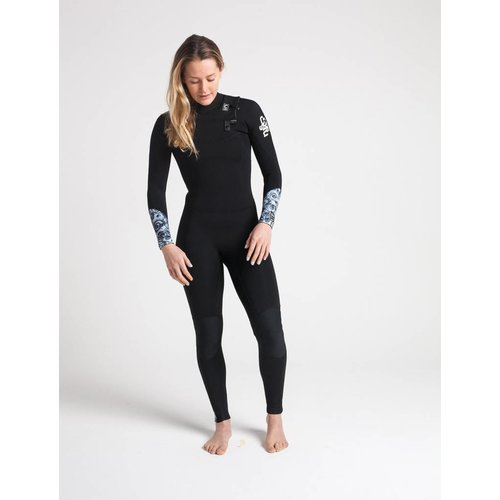 C-Skins C-Skins Solace 4/3 Dames Zomer Black/Mono Shells Wetsuit