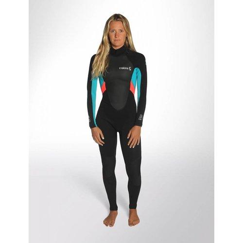 C-Skins C-Skins Element 3/2 Dames Black/Coral/Aqua Wetsuit
