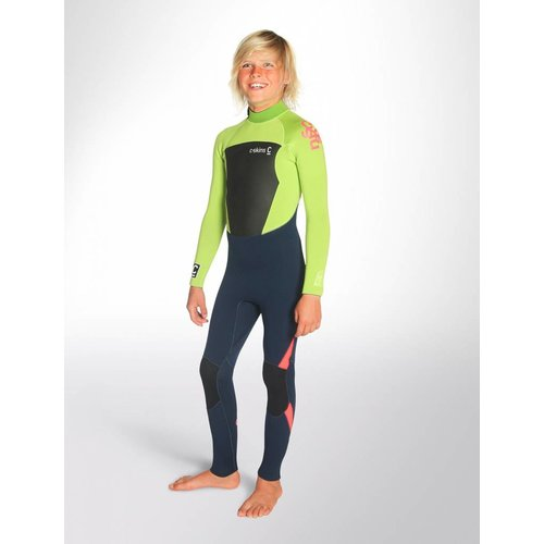 C-Skins C-Skins Legend 4/3 Kinder Zomer Wetsuit InkBlue/Lime/FloRed