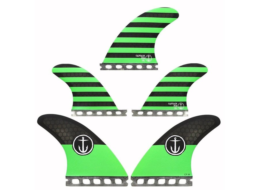 Captain Fin Futures Green Tri Quad  Fins