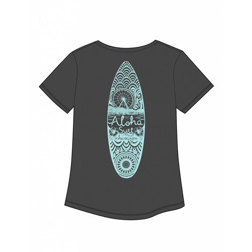 Aloha Surf Huismerk Aloha's Surfboard Grey Mint Dames Tee