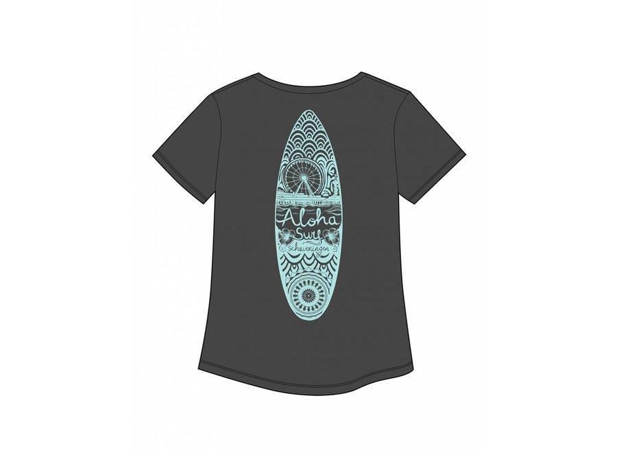 Aloha's Surfboard Grey Mint Dames Tee