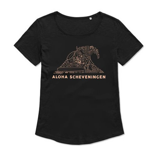 Aloha Surf Aloha's Wave Black Flamingo Dames Tee